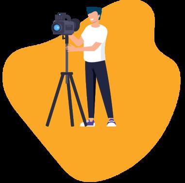 Personnage tenant une caméra