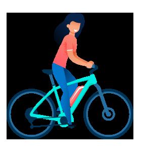 Femme sur un vélo