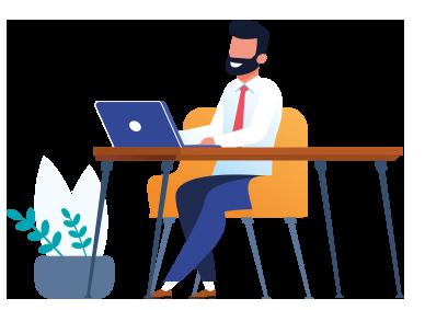 Homme derrière un bureau avec un ordinateur