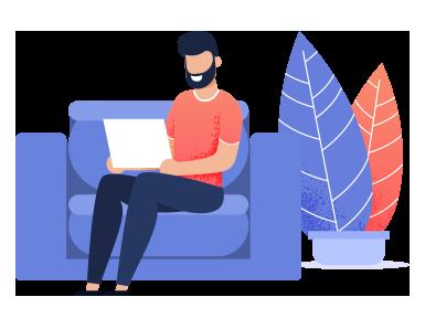 Homme assis sur un canapé avec un ordinateur
