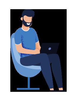 Personnage assis avec un ordinateur
